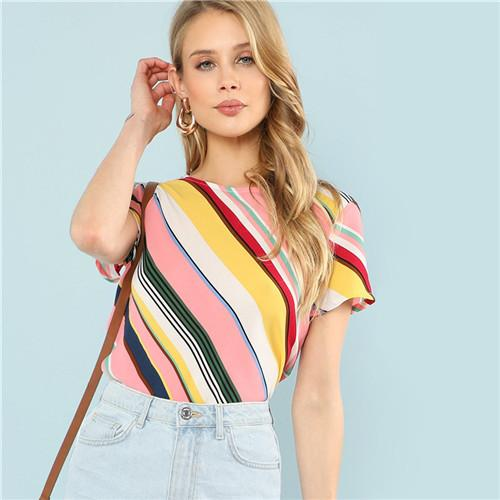 SHEIN Multicolor Striped Short Sleeve Casual Simple Lady Tops And Blouses 2018modkily-modkily