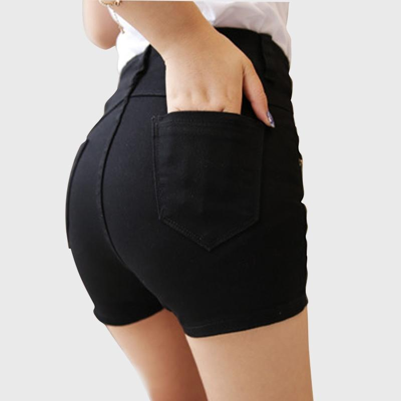 2018 summer High Waist Denim Shorts Women Casual White Black Shortmodkily-modkily