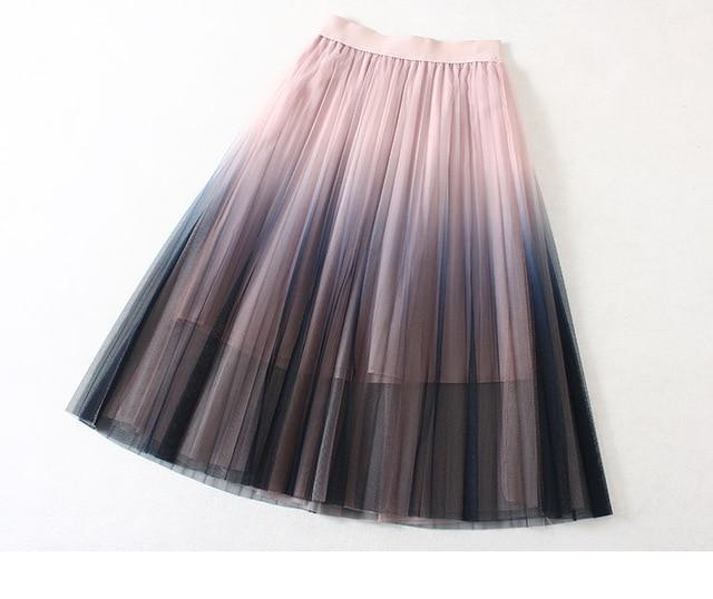 Summer Women Gradient Color Tulle A-line Long Pleated Skirts Elastic Waistmodkily-modkily