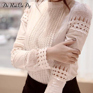 Women Sexy Lace Blouse Shirt Casual Tops Long Sleeve White Blousemodkily-modkily