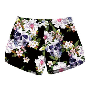 Skull Flowers Printing Shorts Women Bottoms Summer Shorts 2018 Casual Shorts Femmemodkily-modkily