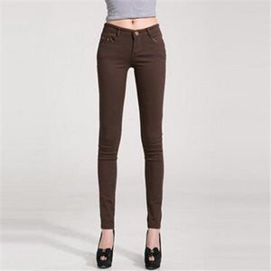 Casual Women's Candy Pants Pencil Jeans Ladies Trouser Mid Waist Fullmodkily-modkily