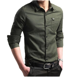 2018 New Brand Male Shirt Long-Sleeves Tops Slim Casual Solid Color Businessmodkily-modkily