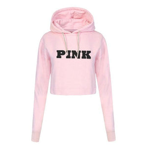 Fashion Letters Printing Hoodies Sweatshirts Jumper Crop Top Coat Crew Neck Womenmodkily-modkily