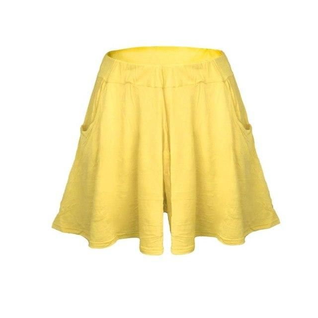 High waist Pleated Wide leg Skirt Shorts Women Candy color Beachmodkily-modkily