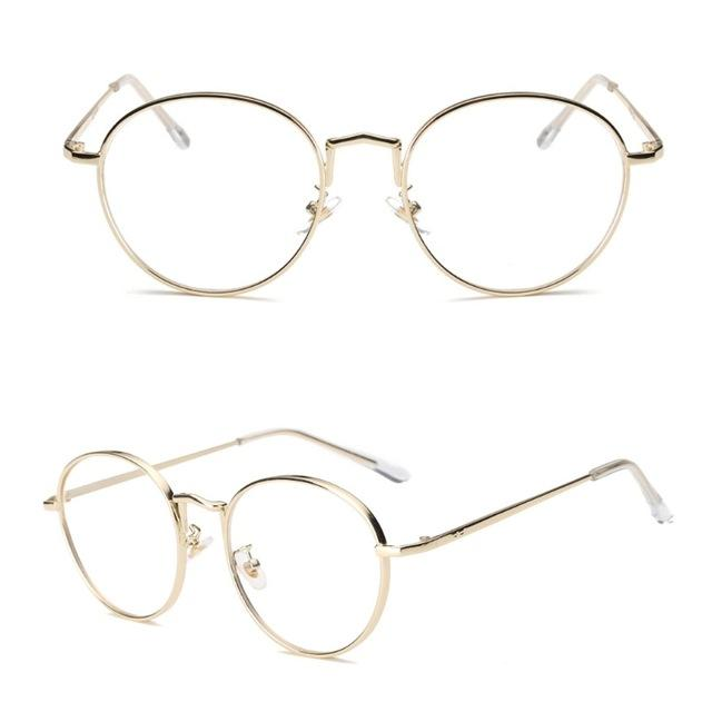 Vintage Oval Metal Clear Lens Glasses Women Men Artistic Frame Plain Eyewearmodkily-modkily
