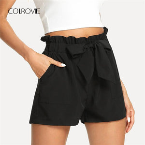 Self Belted Ruffle Casual Shorts 2018 New Black Knot Basic Summermodkily-modkily