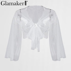 Embroidered flares mesh blouse shirt Women transparent crop top tees Femalemodkily-modkily