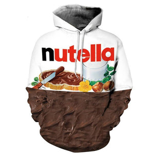 Nutella Pattern Men&Women Hoodies Couples Casual Style 3d Print Hoodie Hip Hopmodkily-modkily