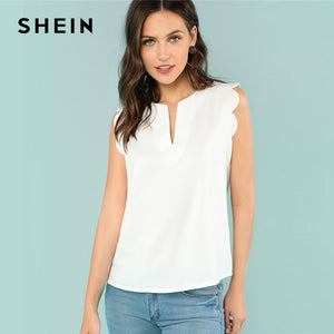 SHEIN Sleeveless V-Neck Scallop Casual Top Summer Regular Fit Elegant Blouse Beigemodkily-modkily