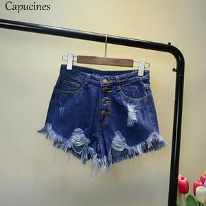 Vintage Ripped Hole Tassel Blue Denim Shorts 2018 Summer Women Casualmodkily-modkily