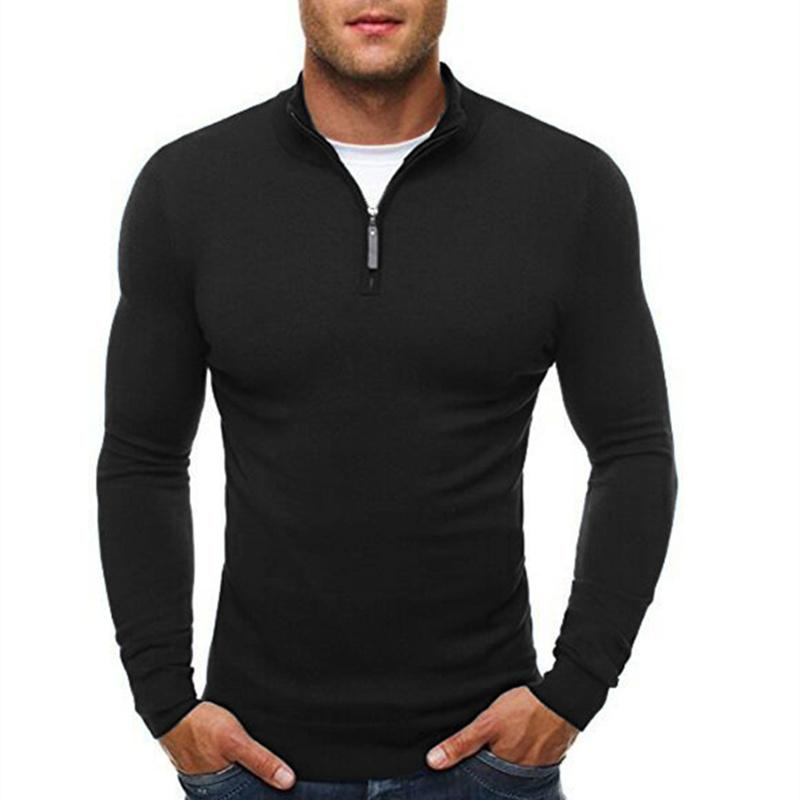 2018 New Spring Mens Sweater Solid Slim Fit Male Pullovers Casual V-Neckmodkily-modkily