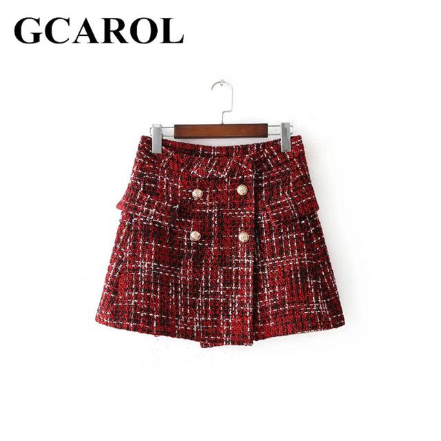 2018 New Arrival Women Double-Breasted Buttons Tweed Skirt High Quality Grils'modkily-modkily