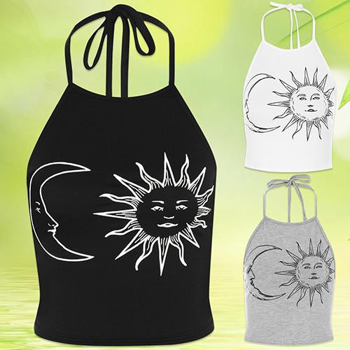 Women's Sexy Sun Moon Print Halter Neck Tied Crop T-Shirt Cotton Basicmodkily-modkily