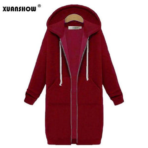 Women's Winter Jeckets 2018 Fashion Zipper Feamle Outwear Long Sleeve Hoodedmodkily-modkily