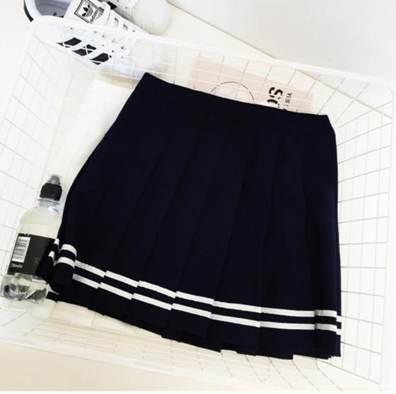 Skirts Womens 2018 Summer Preppy Style Striped High Waist Pleated Mini Skirtmodkily-modkily