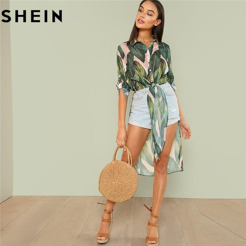 SHEIN Boho Tropical Print Button Women Long Shirts Fashion Beach Vacation Rolledmodkily-modkily