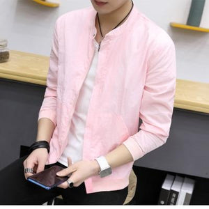 Summer Thin Jackets Men Brand New Slim Fit Stand Collar Bomber Jacketmodkily-modkily