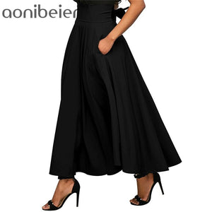 Aonibeier Zip-Back Wide Waistband Swing Skirts Fashion Solid Color High Waistmodkily-modkily