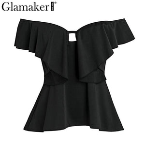 Ruffle split deep v neck summer blouse shirt Backless off shouldermodkily-modkily