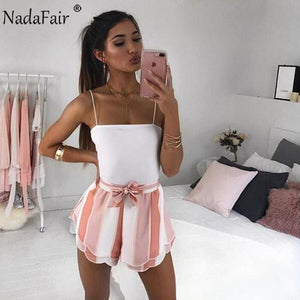 Drawstring Striped Casual Summer Shorts Women Double Layer Bow Print Shortsmodkily-modkily
