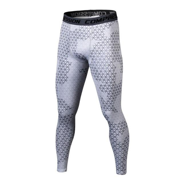 New Men Fitness Leggings Silver Elastic Waist 3D Printed Compression Tights Quickmodkily-modkily