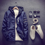 2018 Spring Autumn New Fashion Slim Fit Young Men Hooded Jacket Thinmodkily-modkily