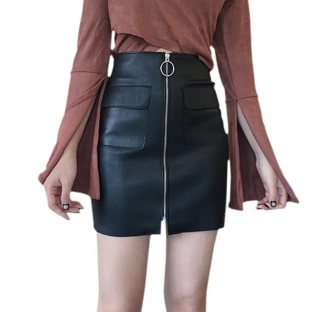 Sexy Zipper Short Skirt PU Leather A-line High Waist Mini Skirt Withmodkily-modkily