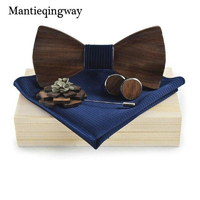 Mens Wooden Bow Tie Set for Wedding Suit Wood Bowties Broochmodkily-modkily
