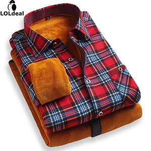 Loldeal Winter Shirts Men christmas 2018 Men's Plaid Warm Flannel Shirt Camisasmodkily-modkily