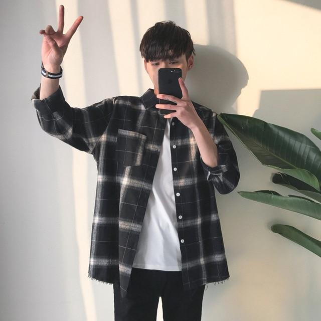 Privathinker Spring Oversized Long Sleeve Shirt Men Women Casual Plaid Flannel Burrmodkily-modkily