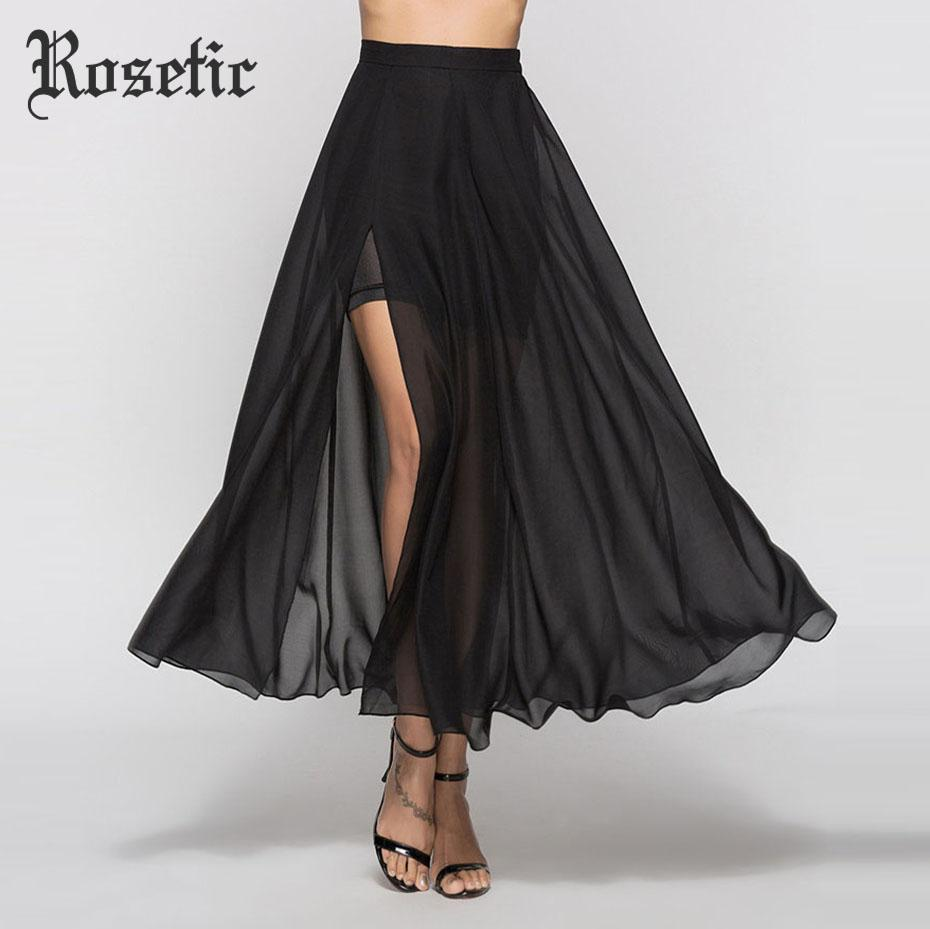 Sexy Gothic Party Long Girl Skirt Black Slit Chiffon See-Through Meshmodkily-modkily