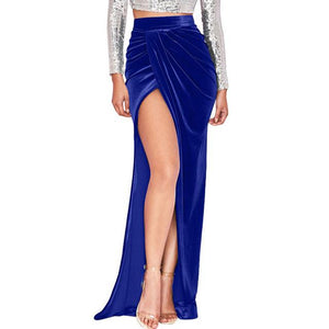 Velvet Long Skirts For Women Sexy Split High Waist Draped Mermaidmodkily-modkily