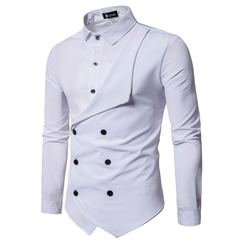 2018 Spring Men's Brand Shirt Personality Fake Two Irregular Men's Casual Slimmodkily-modkily