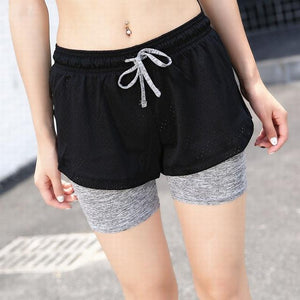 2018 Summer Double Layer Shorts Women Skinny Fitness Shorts Women Elastic Casualmodkily-modkily