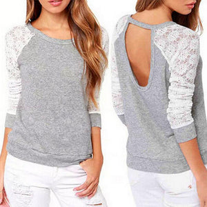 2018 Spring Autumn Women Sweatshirts Backless Embroidery Lace Casual Hoodies O-Neck Fullmodkily-modkily