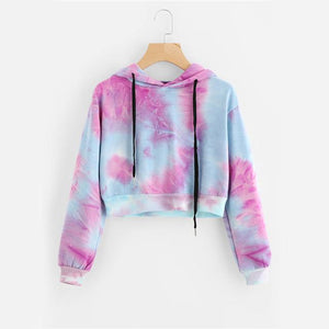 Water Color Crop Hoodies Multicolor Casual Women Drawstring Hooded Sweatshirt 2018modkily-modkily