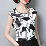 2018 Womens Tops and Blouses Short Sleeve Chiffon Blouse Summer Ladies Printmodkily-modkily