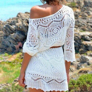 2018 Women Lace Floral Summer Tops Bohemian Sashes Long V-Neck Sun Wearmodkily-modkily