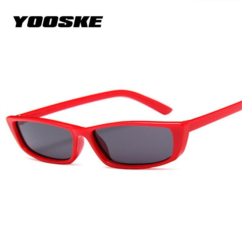 YOOSKE Small Cat Eye Sunglasses Women Vintage Unique Design Rectangle Sun Glassesmodkily-modkily
