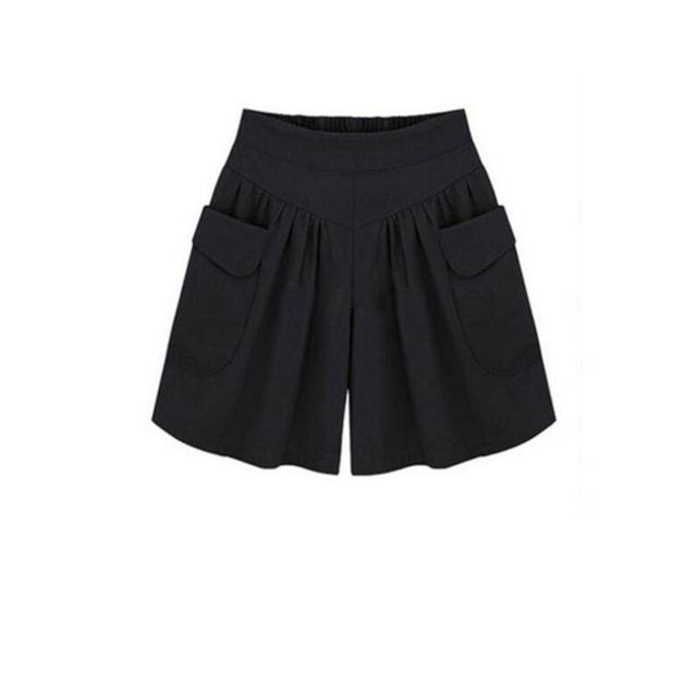 Women Elastic Waist Short Pants All-match Loose Solid Colors Soft Cottonmodkily-modkily