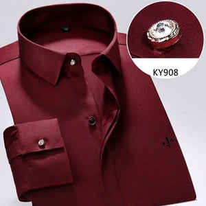 2018 Bamboo Fiber Dress Shirt Male Shirt Male Spring Autumn Longmodkily-modkily