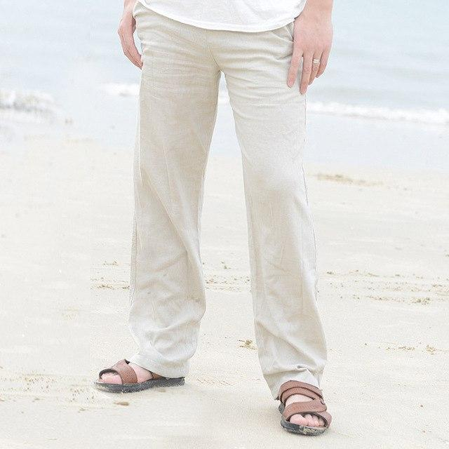 Men's Summer Casual Pants Natural Cotton Linen Trousers White Linen Elastic Waistmodkily-modkily