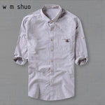 WMSHUO2017 Male 5XL Linen Shirt Three Quarter Sleeve Fluid Turn-down Collar Loosemodkily-modkily