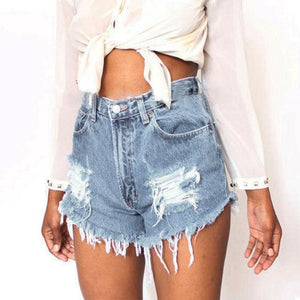 Fashion Distressed Ripped Denim Shorts Women Sexy High Waist Blue Jeans Shortsmodkily-modkily