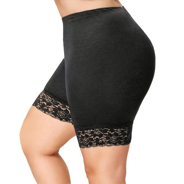 Plus Size Lace Insert Shorts Summer Women Shorts Skinny High Waistmodkily-modkily