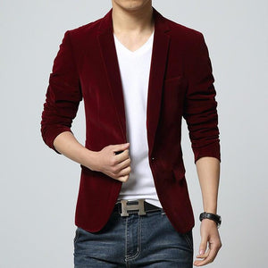 2018 mens blazer brand clothing casual suit Slim Jacket Single Button corduroymodkily-modkily