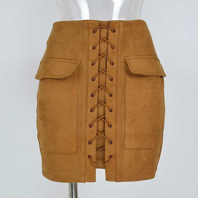 Vintage Suede Skirt High Waist Pencil Skirt Winter External Pocket Fauxmodkily-modkily