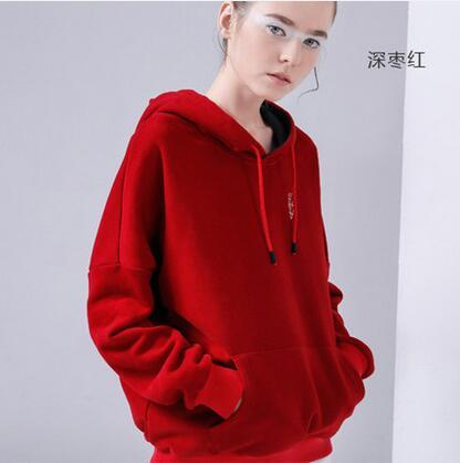 Hooded Sweatshirts Women 2018 Autumn Winter Fleece Hoodie Letter Embroidery Solidmodkily-modkily