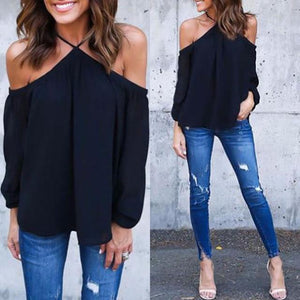 Sexy Halter Women Chiffon Blouse 2018 Off Shoulder Spring Summer Casualmodkily-modkily